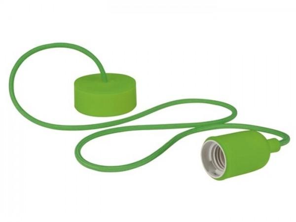 E27 Kabelleuchte 1m Textilkabel Silikon - grün -