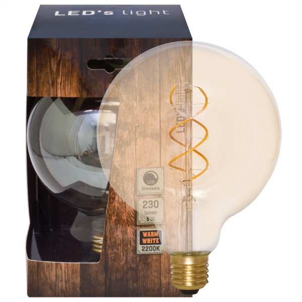 Dekoratives Spiral-LED Leuchtmittel 2200K, gold getönt, 5W Globe XL
