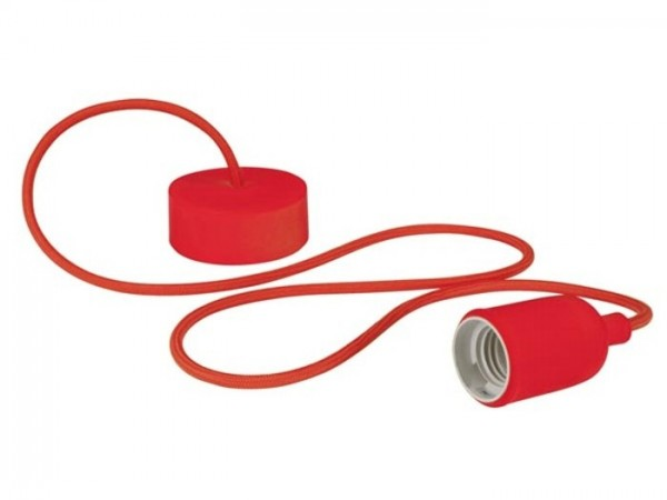 E27 Kabelleuchte 1,40m Textilkabel Silikon - rot -